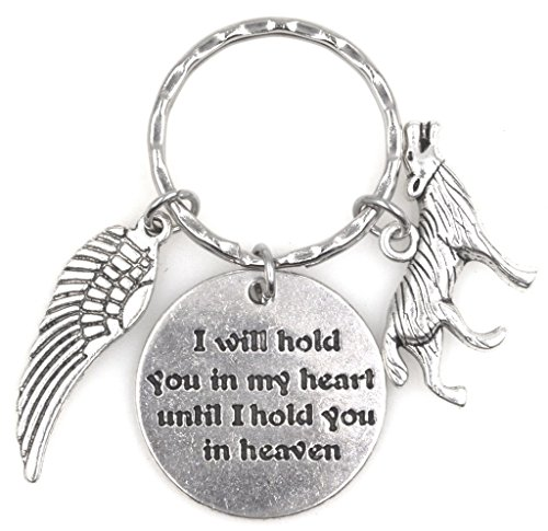 I Will Hold You in My Heart Until I Hold You in Heaven Angel Wing Wolf Keychain 115I