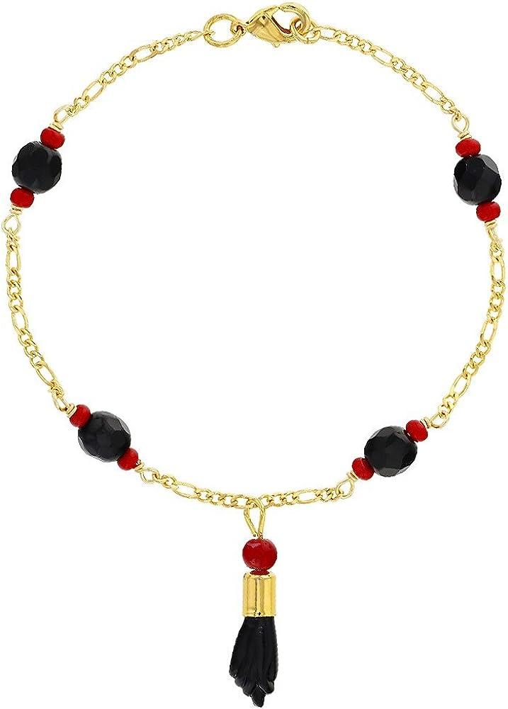 In Season Jewelry - Chapado en Oro 18k Mano de Figa Azabache Simulado Brazalete de Protección contra el Mal de Ojo 19cm