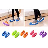 10pcs (5 Pairs) Mop Slippers Shoes Cover, Soft Washable Reusable Microfiber Foot Socks Floor Dust Dirt Hair Cleaner for Bathroom Office Kitchen House Polishing Cleaning (Five colours)