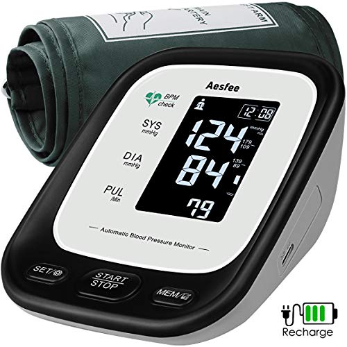 Upper Arm Blood Pressure Monitor USB Rechargeable, Accurate Automatic BP Machine for Home Use, Digital Blood Pressure & Heart Rate Pulse Meter with 22-42cm Large Cuff, Backlit LCD Display