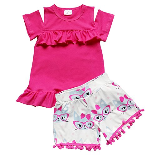 So Sydney Girls Toddler Pom Pom Novelty Summer Pool Beach Vacation Shorts Outfit (4T (M), Kitty Hot Pink) - Hot Pink Kitty