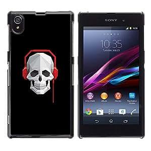 // PHONE CASE GIFT // Duro Estuche protector PC Cáscara Plástico Carcasa Funda Hard Protective Case for Sony Xperia Z1 L39 / Cráneo Batir Auriculares /