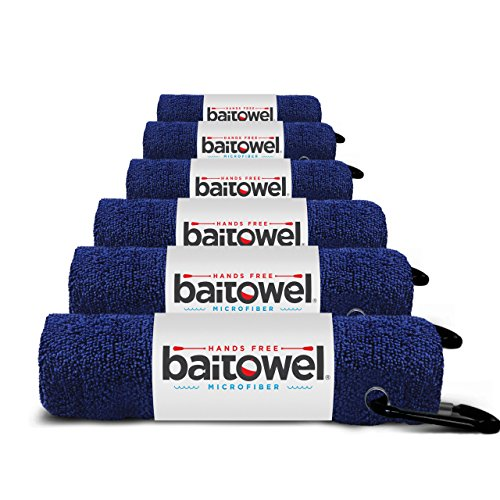 Fishings Best Microfiber Bait Towel, 6 Pack, Navy Blue, 16 X 16, with Carabiner Clip
