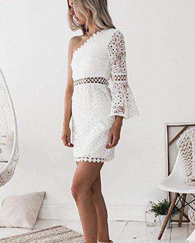Blanco Mujer Sólido Corta Ocasional del Larga De para Falda Manga Atractiva Señora Delgados Color Irregulares Mini pqIBZWv