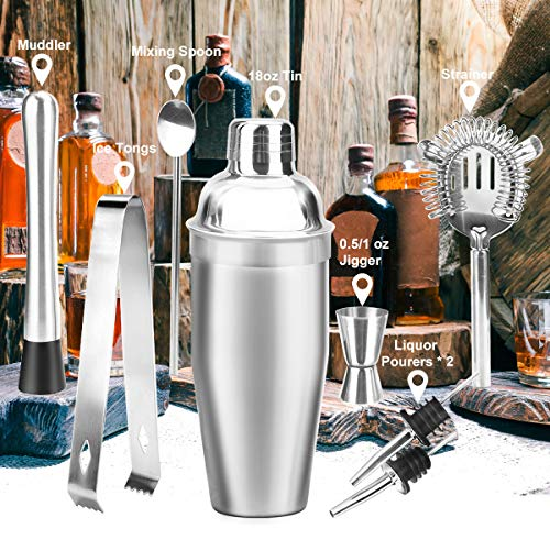 18oz Stainless Steel Cocktail Shaker Bar Set Tools with Martini Mixer Double Measuring Jigger/Mixing Spoon/Liquor Pourers/Muddler/Strainer and Ice Tongs Professional Bar Accessories (8 Piece Set) by Appolab (Image #3)