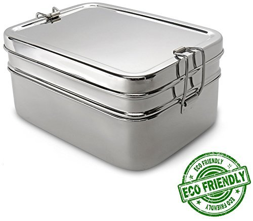 Lifestyle Block 3 Compartment Stainless Steel Eco-Friendly Lunch Box - Regular