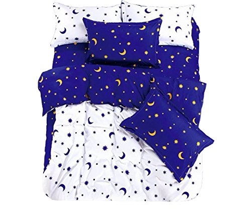 KingKara 4 Piece Duvet Cover Set (Twin,Full/Queen),Cotton Blend White/Blue Moon Star Pattern Design Duvet Cover with 1 Flat Sheet and 2 Pillowcases (Queen)