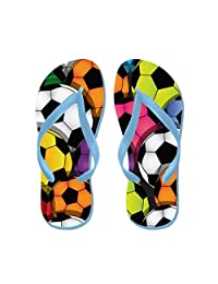 Lplpol Colorful Soccer Balls Flip Flops for Kids and Adult Unisex Beach Sandals Pool Shoes Party Slippers