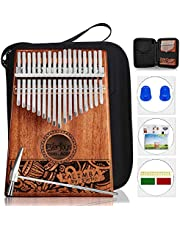 Thumb piano Portable Kalimba 17 Keys - Finger Piano with Protective Case, Fast to Learn Songbook, Tuning Hammer
