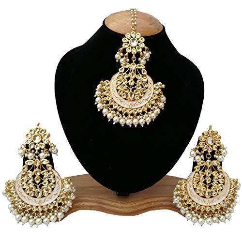 Retailbees Finekraft Bridal Indian Wedding Designer Kundan Maang Tikka with Earrings
