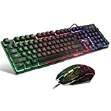 BAKTH Multiple Color Rainbow LED Backlit Mechanical Feeling USB Wired Gaming Keyboard and Mouse Combo for Working or Games