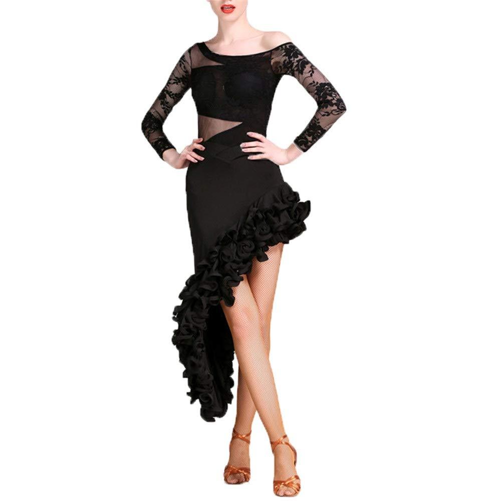 女性用アダルトシャイニーダンスパーティードレス、 女性のレースのドレープ長袖ラテンダンス衣装社交ダンスドレス衣装セットプロのパフォーマンススカート競技ドレススーツダンスウェア タッセルスパークリングスパンコールラテンダンスドレス (色 : ブラック, サイズ : L) ブラック Large