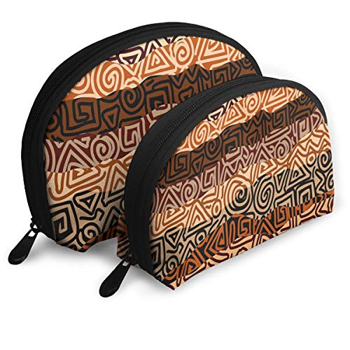 Shell Shape Makeup Bag Set Portable Purse Travel Cosmetic Pouch,Ethnic Strikes Pattern In Brown Colors Ancient Curved Spiral Lines African Figures,Women Toiletry Clutch