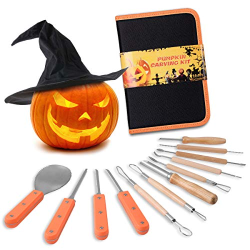 Snowcinda Pumpkin Carving Kit, Includes 12 Pcs Stainless Steel As a Carving Set for Pumpkin Halloween Decoration Kit Easily Sculpting Jack-O-Lanter Halloween Set