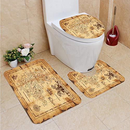 3 Sets of Bathroom Home, Bathroom Carpet + Contour pad + lid Toilet seat,Island Map Super Detailed Treasure Map Grungy Rustic Pirates Gold Secret Sea History Theme B, Flannel Carpet