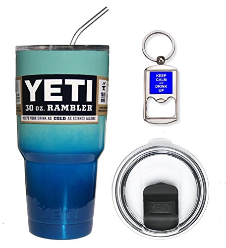 YETI Coolers 30 Ounce (30oz) (30 oz) Custom Rambler Tumbler Cup Mug Bundle with New Magslider Lid (Seafoam Blue Ombre)