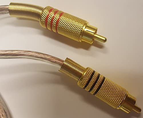 2 Pair Stackable Banana Plugs to 2 RCA Male Phono Gold Plated 6 Foot