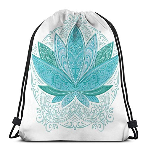 2019 Funny Printed Drawstring Backpacks Bags,Lotus Flower With Ornaments Ethnic Exotic Petals Mehndi Traditional Boho Design,Adjustable String Closure