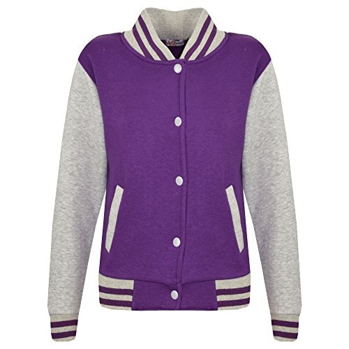 KIDS GIRLS BOYS BASEBALL JACKET VARSITY STYLE PLAIN SCHOOL JACKETS TOP 5-13 (Baseball Style Jacket)