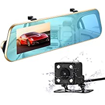 isYoung 720P HD Car Video Recorder Mirror Dash Cam Rearview Mirror Cam with Front and Back Camera, G-Sensor, Loop Recording, 140 Degrees