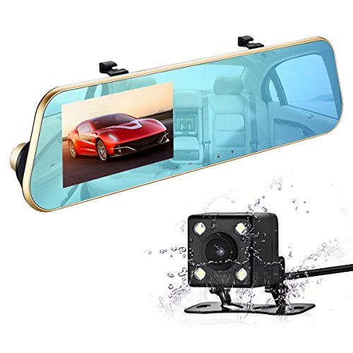 isYoung 1080P HD Car Video Recorder Mirror Dash Cam Rearview Mirror Cam with Front and Back Camera, G-Sensor, Loop Recording, 170 Degrees