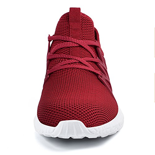 Comfy Qansi Athletic Womens Shoes Walking Sport Lightweight white Red Trainers ttqAwgf