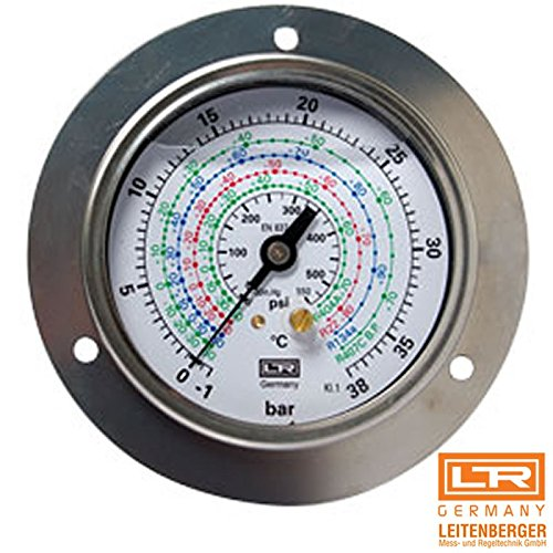 Leitenberger MGH HVAC Pressure Gauge - Manometer - R134a/R404a/R22 63 Refrigeration Parts (D.80 Low Pressure -1/+18 bar 14,50/260 psi) from Leitenberger