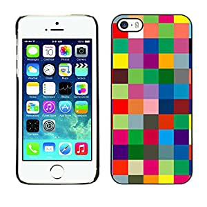 PC/Aluminum Funda Carcasa protectora para Apple Iphone 5 / 5S Checkered Vibrant Colors Texture / JUSTGO PHONE PROTECTOR