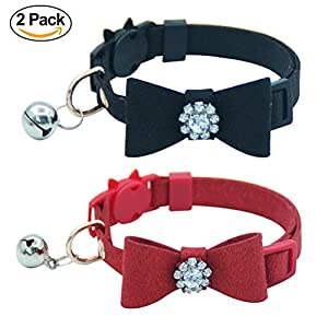 OFPUPPY Cat Collar Breakaway with Diamonds, Cute BowTie & Bell for Kitty, Black/Red, Adjustable 7.8-10.2