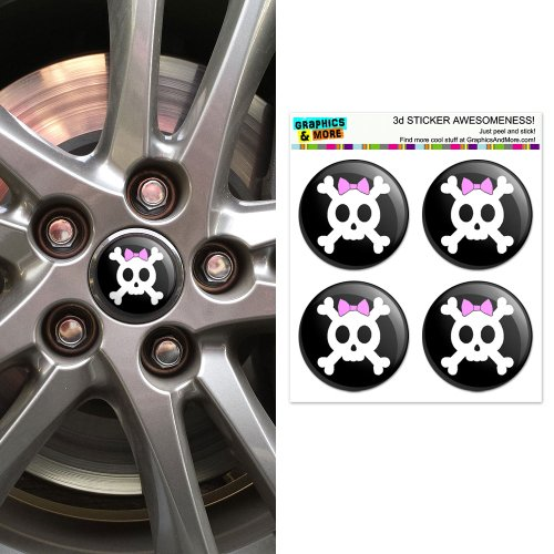 Girly Skull And Crossbones With Hairbow Wheel Center Cap 3D Domed Stickers Badges - Set of (Girly Skull Stickers)