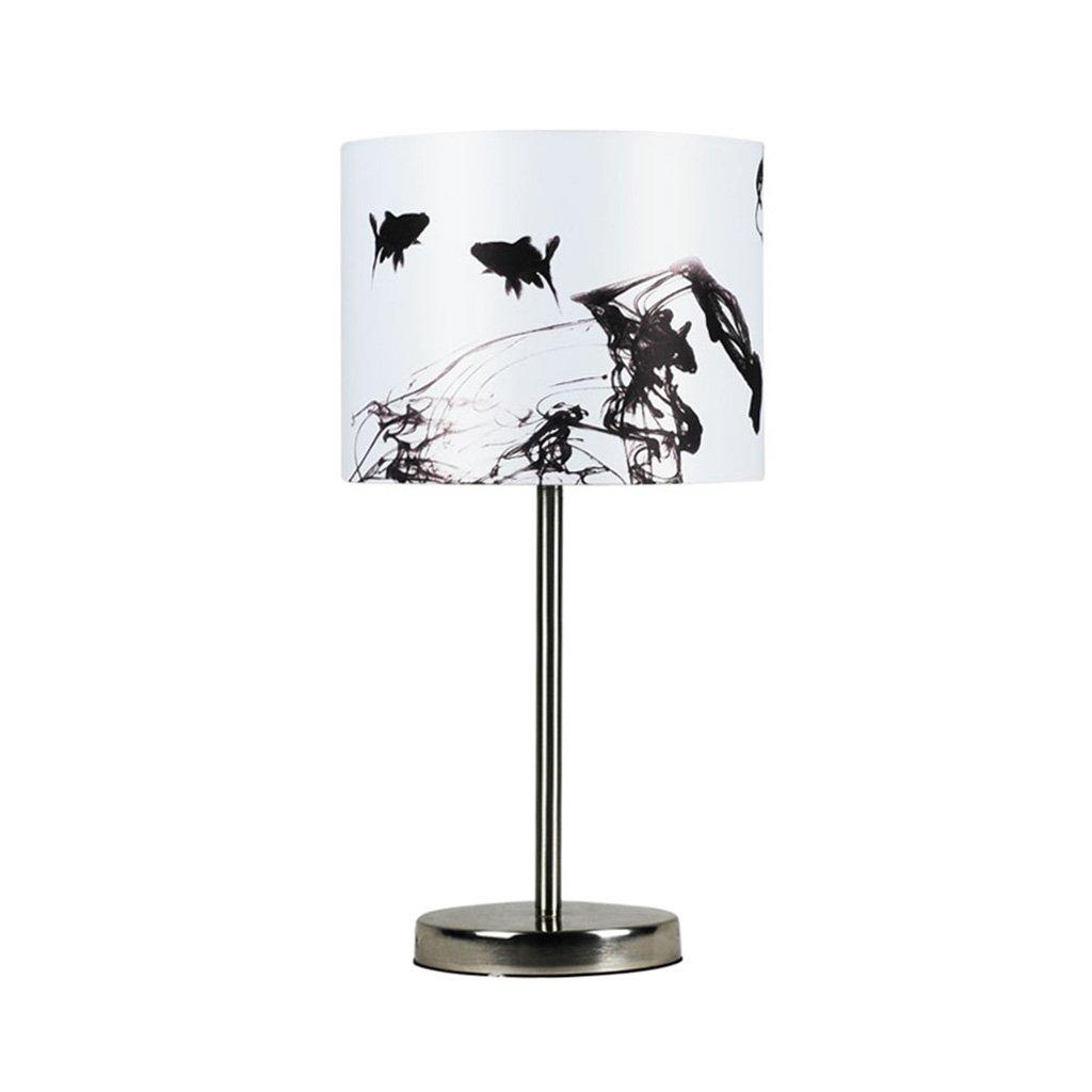 Tischlampe Tischlampe Tischlampe aus Stoff Lampe Tischlampe aus Schmiedeeisen Lampe Schreibtischlampe LED Energiesparlampen Runden Augenschutz Tisch (Farbe   Weiß, Größe   25  25  50cm) c5b5f2
