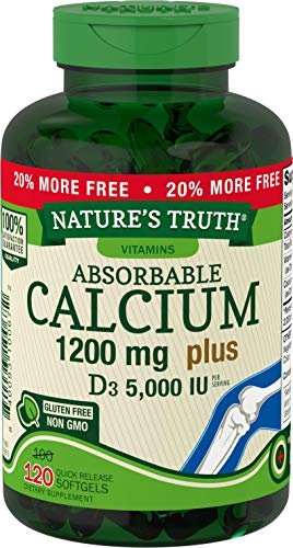 Absorbable Calcium 1200 mg with Vitamin D3 5000 IU | 120 Softgels | Calcium Carbonate Supplement | Non-GMO Gluten Free | Nature's Truth