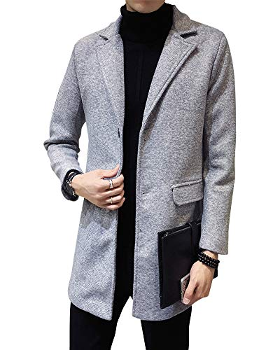 Casual Grey Jacket Breasted Long Single Overcoat Light Turn Coat Men's PengGengA Collar Down Business Trenchcoat q06wInZg