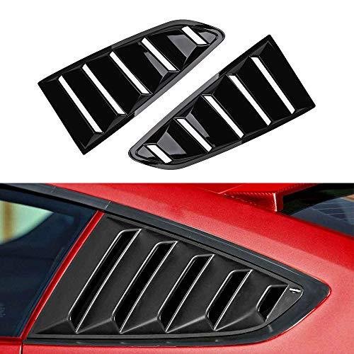 Tutor Auto  Quarter Side Window Louvers for 2015 2016 2017 2018 Ford Mustang Louvers Visor Cover Sun Rain Shade Vent GT 5 Vents Window Scoop Louver