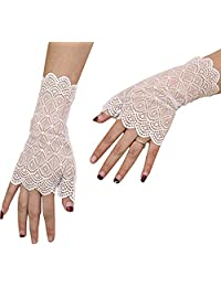 PROMLINK Summer Floral Lace Sheer Gloves Short for Women Outdoor Driving Mittens