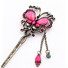 New Girl Women Fashion Pink Rhinestone Butterfly Ladies Hair Stick Hairpin 37