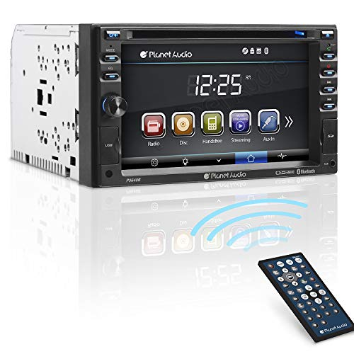 Planet Audio P9640B Car DVD Player - Double Din, Bluetooth Audio and Calling, 6.2 Inch LCD Touchscreen Monitor, MP3 Player, CD, DVD, WMA, USB, SD, Auxiliary Input, AM/FM Radio Receiver
