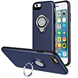 iPhone 6s Plus Case, iPhone 6 Plus Case, ICONFLANG 360 Degree Rotating Ring Kickstand Case Shockproof Impact Protection [Support Magnetic Car Mount Case] for iPhone 6s Plus / 6 Plus (2018) - Dark Blue