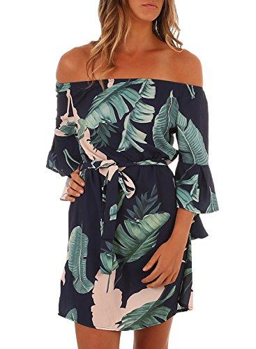 Elapsy Womens Sexy Off Shoulder Bell Sleeve Club Palm Leaf Print Boho Short Mini Dress Navy - Print Leaf Navy