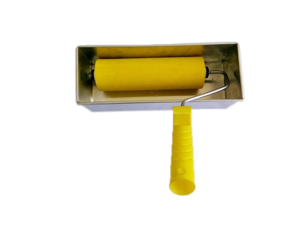 "Glue Spreader ""Glu-Man"" 200 mm Hanfas closed Anilox texture finish Adhesive Roller for Carpenter Woodworking / Glue Dispenser Roller for Packaging / Industrial Glue Applicator Roller"