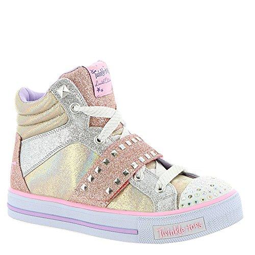 Skechers Twinkle Toes: Shuffles-Miss Metallic Girls' Toddler-Youth Oxford,Rose Gold,13