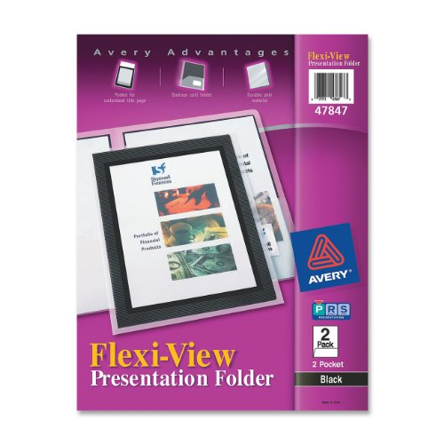 Avery Flexi-View Two-Pocket Polypropylene Folder, Translucent Black, Two per Pack (47847)