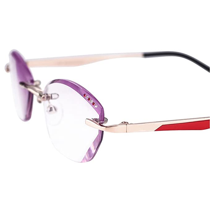 Meijunter Frauen Eyewear Gradienten lila getönte Linse rahmenlose randlose dünne Lesebrille mV0flU5CQ