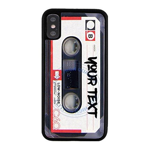 BleuReign Personalized Custom Name Mixtape Cassette Rubber Phone Case Back Cover for Apple iPhone X Xs - Case Tape 4s Cassette Iphone