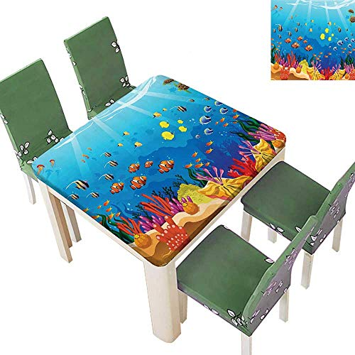 Spillproof Fabric Tablecloth Navy Fish Moss Shells Bubbl and Sunbeams Rays Print Multicolor Kitchen Washable 52 x 52 Inch (Elastic Edge) ()