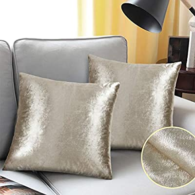 Charming YINFUNG Velvet Pillow Covers Gold Shiny Decorative Couch Pillow Cases 18x18  Taupe Sofa Throw Pillow Cover Champagne Tan Bed Cushion Cover Bling 2 Set  Square ...