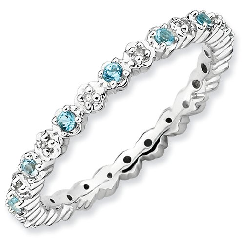 2.25mm Sterling Silver Stackable Expressions Prong Set Blue Topaz and Diamond Eternity Ring - Size 7
