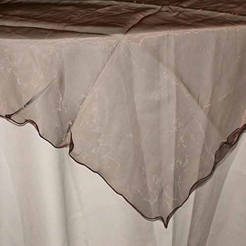 Firefly Imports Homeford Organza Table Cover with Overlay Ruffled Edge, Brown, 80-Inch by Firefly Imports