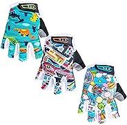 Kids Junior Cycling Gloves Fingerless Outdoor Sport Road Mountain Bike, Fit Boy Girl Youth Age 2-10, Gel Paddi