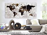 Original by BoxColors LARGE 30''x 60'' 3 Panels 30''x20'' Ea Art Canvas Print Watercolor Map World countries cities Push Pin Travel Wall color Brown beige dark decor Home interior (framed 1.5'' depth)